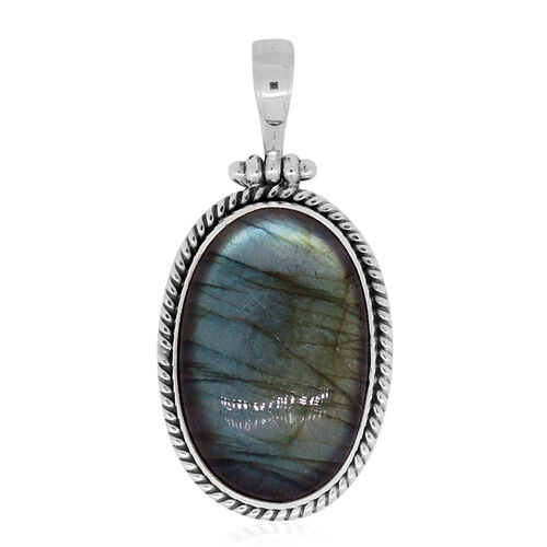 Royal Bali Collection Labradorite (Ovl) Pendant in Sterling Silver 40.520 Ct.