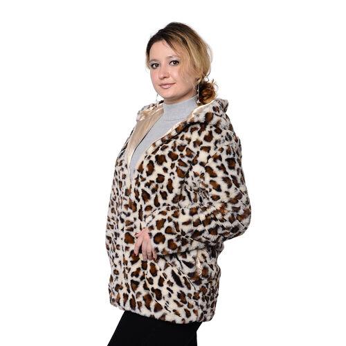 DOD - Super Soft Faux Fur Leopard Pattern Coat in Brown (Size M)