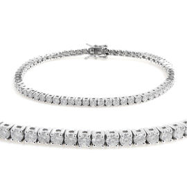 New York Close Out 14K White Gold Diamond (Rnd) (I2/G-H) Bracelet (Size 7.25) 4.000 Ct, Gold wt 11.0