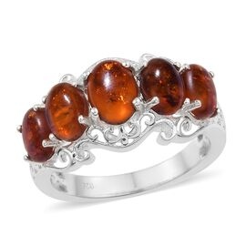 Baltic Amber (Ovl) 5 Stone Ring in Sterling Silver 1.750 Ct.