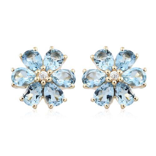 9K Yellow Gold AA Santa Maria Aquamarine (Pear), Natural Cambodian Zircon Flower Stud Earrings (with