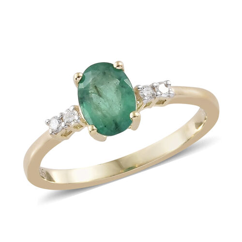 9K Yellow Gold Kagem Zambian Emerald (Ovl) Diamond Solitare Ring  0.750 Ct.