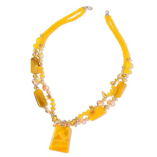Yellow Agate,Simulated Yellow Sapphire and Simulated Yellow Shell Necklace (Size 29) in Silver Plate