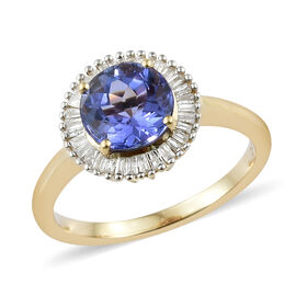 1.62 Ct Tanzanite and Diamond Halo Ring in 14K Gold 3.5 Grams