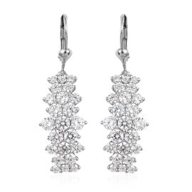 J Francis Made with SWAROVSKI ZIRCONIA Cluster Drop Earrings in Platinum Plated Sterling Silver