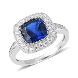 ELANZA Simulated Tanzanite (Cush), Simulated Diamond Ring in Rhodium Overlay Sterling Silver