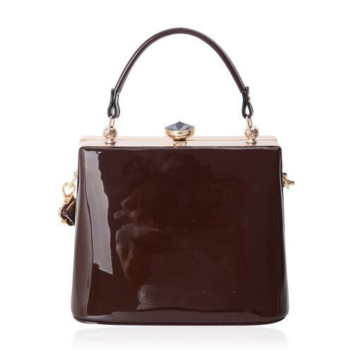 Boutique Limited Collection High Glossed Vintage Style Dark Chocolate Handbag with Removable Shoulder Strap (Size 22x18x14 Cm)