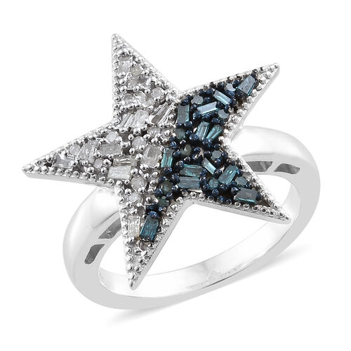 Blue and White Diamond (Rnd and Bgt) Star Ring in Platinum Overlay with Blue Plating Sterling Silver