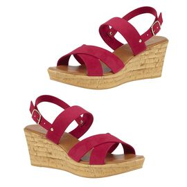 Lotus Angelica Wedge Sandals in Fuchsia Colour