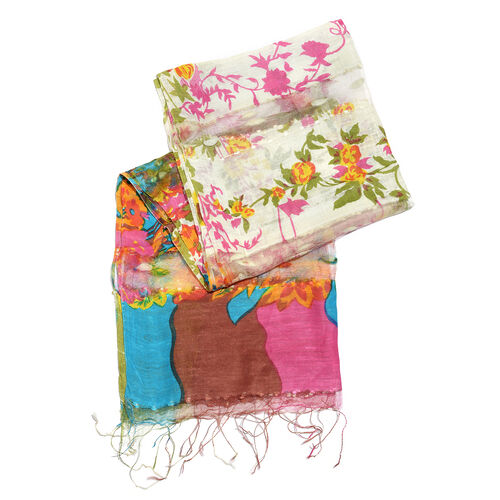 65% Silk Green, Blue, Cream and Multi Colour Artistic Floral Pattern Scarf with Fringes (Size 180x50 Cm)