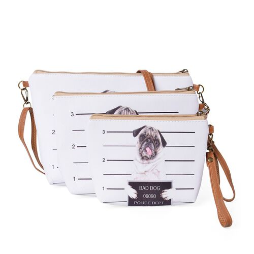 Set of 3 - White, Pink and Multi Colour Dog Face Cosmetic Bag (Size Large 28X27X7 Cm, Medium 21X15X6 Cm and Small 18X12X5 Cm)