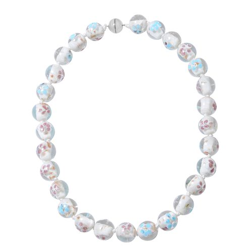 Millefiori Collection- White Colour Murano Style  Glass Beads Necklace (Size 20) with Magnetic Lock