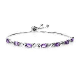 Amethyst (Ovl) Bolo Bracelet (Size 6.5 - 9.5 Adjustable) in Stainless Steel 2.750 Ct.