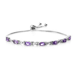 2.75 Ct African Amethyst Adjustable Bolo Bracelet in Silver Tone