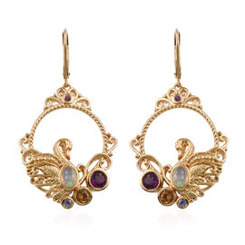 GP 2.25 Ct Ethiopian Opal and Multi Gemstones Earrings in Gold Plated Sterling Silver 13.5 Grams