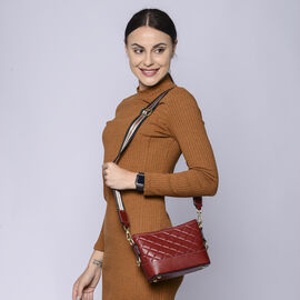 Genuine Leather Quilted Pattern Crossbody Bag - Red