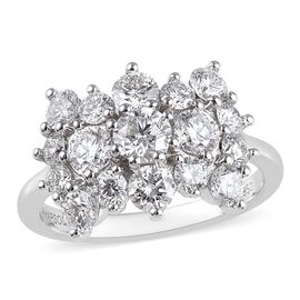 RHAPSODY 950 Platinum IGI Certified Diamond (Rnd) (VS/E-F) Boat Cluster Ring 2.000 Ct.
