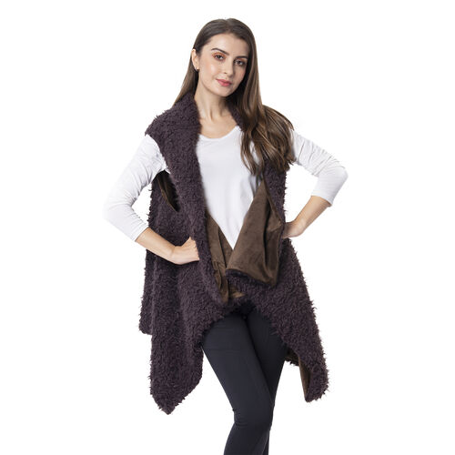 Designer Inspired-Brown Colour Faux Fur Gilet (Size 155x75 Cm)