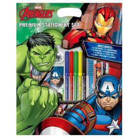 AVENGERS Premium 7 Piece Stationery Set ( Includes Pencil, Felt Tips, Pen, Pad, Sharpener, Eraser an