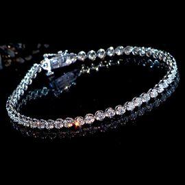 NY Close Out-10K White Gold Diamond (I1-I2/ G-H) Bracelet (Size  7.25) 2.00 Ct, Gold wt 6.80 Gms