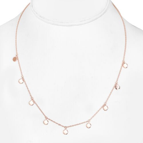 Rose Gold Overlay Sterling Silver Drop Station Necklace (Size 18), Sliver wt. 6.00 Gms