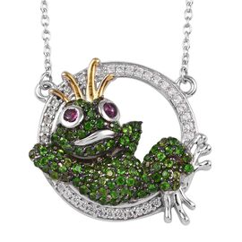 GP Russian Diopside, Rhodolite Garnet, Natural Cambodian Zircon and Blue Sapphire Frog Prince Neckla