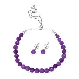 Burmese Purple Jade (Rnd) Bracelet (Size 6.5 to 10) and Stud Earrings (with Push Back) in Rhodium Ov