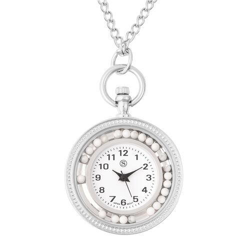 STRADA Japanese Movement Pocket Watch with Chain (Size 30) and Moving White Howlite Beads Around the