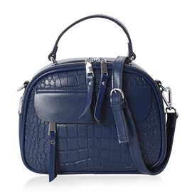 100% Genuine Leather Stone Pattern Tote Bag with Detachable Shoulder Strap (Size 24x11x18 Cm) - Navy