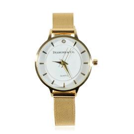 DIAMOND & CO LONDON- Diamond Studded Watch with Mesh Style Strap - Gold Tone