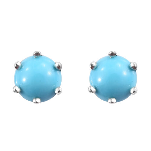 Arizona Sleeping Beauty Turquoise (Rnd) Stud Earrings (with Push Back) in Platinum Overlay Sterling