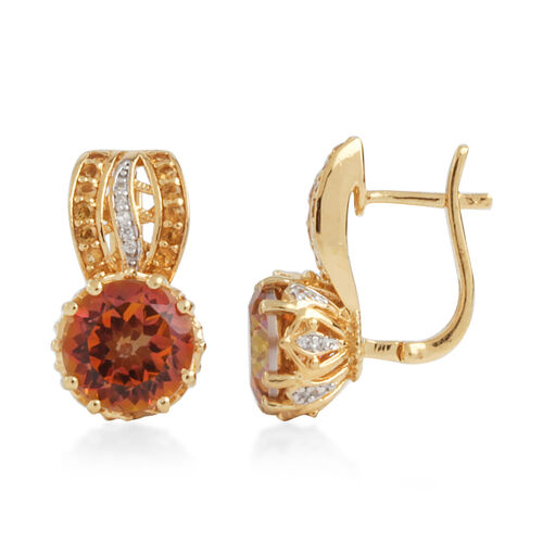 Twilight (Rnd), Natural Cambodian Zircon, Citrine Earrings in Yellow Gold Plated Sterling Silver 8.187 Ct. Silver wt 6.32 Gms.