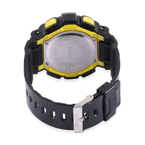 STRADA Electronic Movement 7 Colour Flashing LED Watch in Light Green Colour and Silver Tone with Stainless Steel Back and Black Silicone Strap