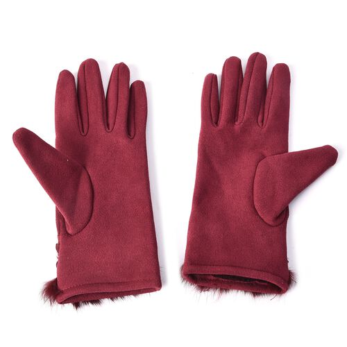 Solid Colour Women Winter Gloves with Pleated Embellishment and Faux Fur on the Wrist (Size 8.9x22.9 Cm) - Wine Red