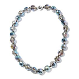 Magic Color Glass Beaded Necklace in Stainless Steel 20 Inch