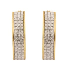 New York Close Out Deal - Diamond Cut In Out Hoop Earrings in Yellow Gold Overlay Sterling Silver