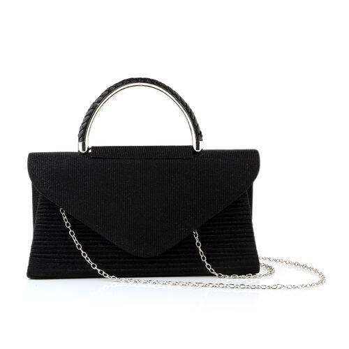 Black Colour Envelope Clutch Bag with Detachable Chain Strap (Size 24x5x13 Cm)