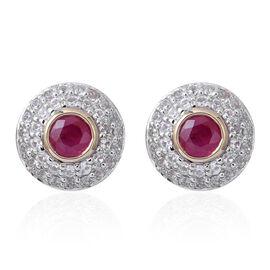 3.15 Ct Burmese Ruby and Zircon Halo Stud Earrings in 9K Gold 2.80 Grams