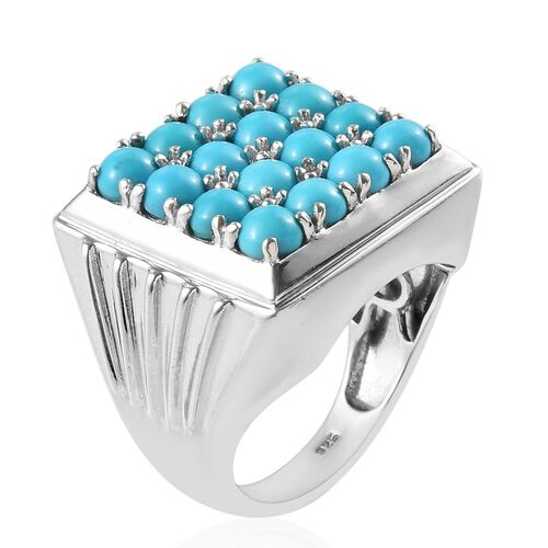 Arizona Sleeping Beauty Turquoise (Rnd) Cluster Ring in Platinum Overlay Sterling Silver 4.50 Ct, Silver wt 11.50 Gms