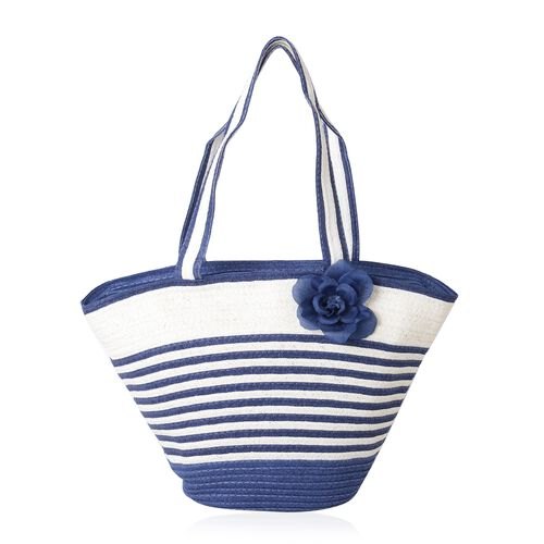 Blue and White Colour Flower Adorned Stripe Pattern Tote Bag (Size 47x30x20x13 Cm) and Hat (Size 29x24 Cm)
