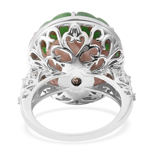 Floral Carved Green Jade (Rnd), Pink Mother of Pearl, Russian Diopside and Natural White Cambodian Zircon Openable Ring in Sterling Silver 29.25 Ct, Silver wt 8.00 Gms