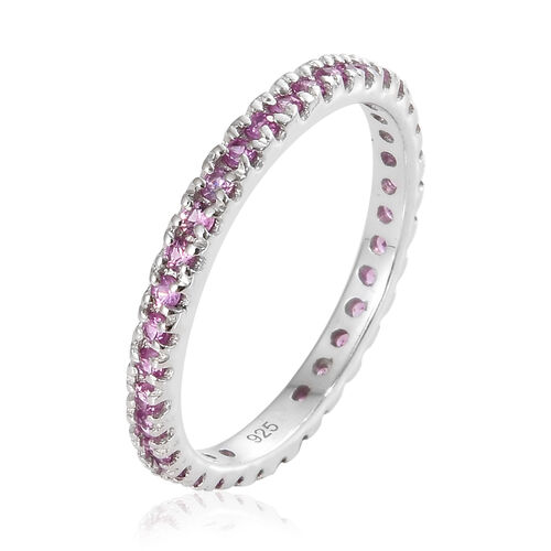 Madagascar Pink Sapphire (0.75 Ct) Platinum Overlay Sterling Silver Ring  0.750  Ct.