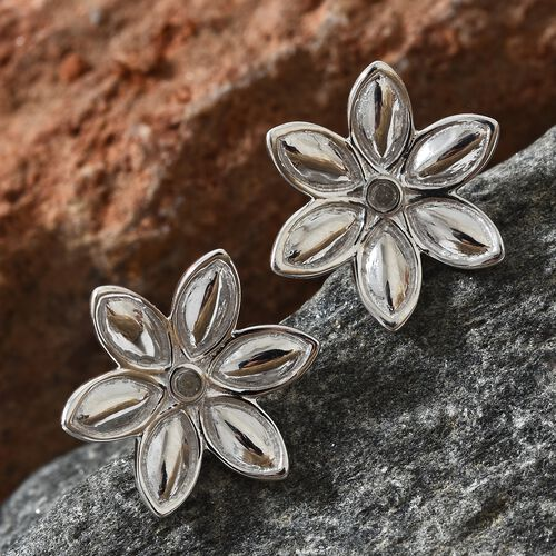 Diamond (Rnd) Flower Stud Earrings (with Push Back) in Platinum Overlay Sterling Silver 0.030 Ct.