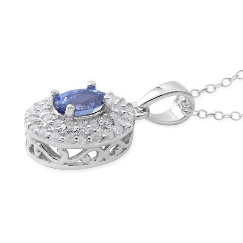 Signature Collection - Extremely Rare Ceylon Sapphire (Ovl 1.05 Ct), Natural Zircon Double Halo Pendant with Chain in Rhodium Overlay Sterling Silver 2.270 Ct.