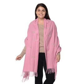 Plume Pattern Embroidery Winter Scarf with Tassels (Size 190.5x76.2 Cm) - Pink