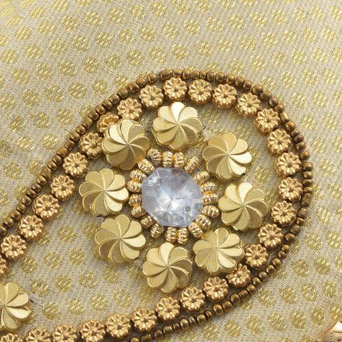Hollywood Hand Embellished Golden Satin zipped Potli Bag