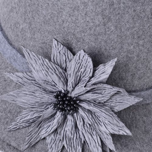 Grey Colour Flower Adorned Hat (Size 30X16 Cm)