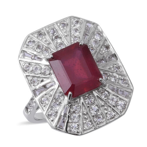 African Ruby (Oct 6.76 Ct), White Topaz Ring in Rhodium Overlay Sterling Silver 9.530 Ct, Silver wt 7.45 Gms.