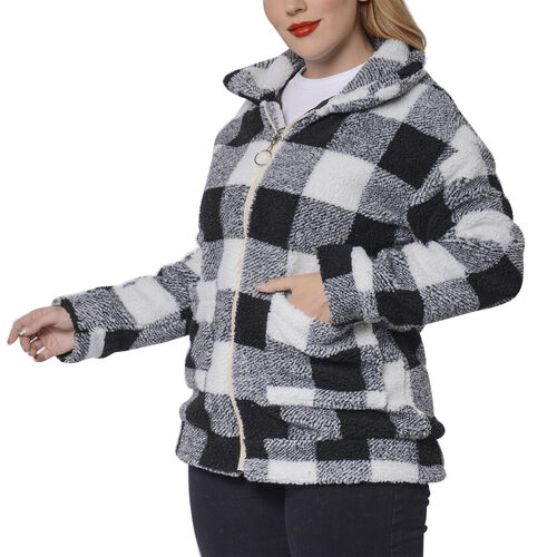 Black and White Checkered Pattern Faux Fur Coat with Pockets (Size S; 54x70cm)