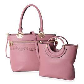 Set of 2 - Pink Mauve Colour Large Handbag (Size 38x30x28.5x14 Cm) and Small Handbag (Size 31x26x25x8 Cm) with Removable Shoulder Strap